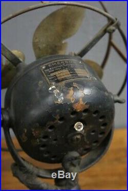 Rare Antique Emerson Brass Desk Fan #19644 Little Parker Blade Design 3 Speeds