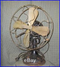 Rare Antique Vintage Electric Century Type S3 Brass Fan