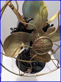 Rare Emerson 19644 brass blade brass cage antique electric fan