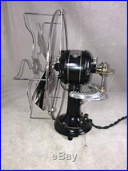 Rare Restored Martinot French Antique Electric Fan Oscillator on a gear track
