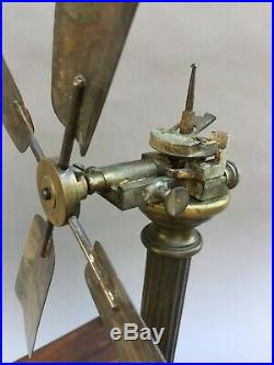 Rare Spring Motor French Fan With Double Helix No Electric Bipolar Fan