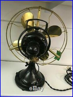 Restored Antique Original GE 13 Oscillating Brass Blade/Cage Fan