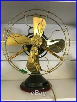 Restored Antique Original Oscillating 1922 GE AB1 Brass Blade/Cage Fan