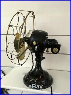 Restored Antique Original Oscillating GE 12 Sidewinder Brass Blade/Cage Fan