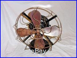 Robbins & Myers 12 Vintage Antique Electric Motor Brass Blade & Cage Fan