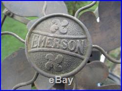 SUPER Rare 1910 EMERSON 11644 BRASS BLADE Fan CAST IRON Base withMODEL 1500 GUARD