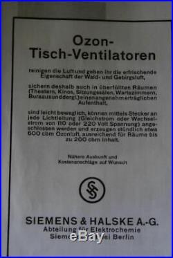 Totally rare ozone table desk fan Siemens & Halske, Siemens Schuckert, Bauhaus