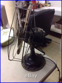 VINTAGE ANTIQUE WESTERN ELECTRIC LARGE 16 Brass 4 BLADE 3 SPEED OSCULATING FAN