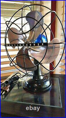 Vintage 1950's Westinghouse Electric Fan Art Deco, Blue sapphire, Refurbished