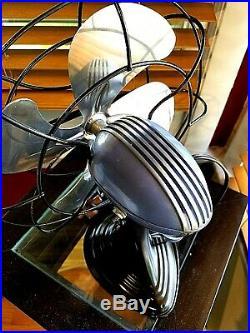 Vintage 1950's Westinghouse Electric Fan Art Deco, Light cobalt, Refurbished