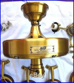 Vintage 52 Hunter Olde Tyme Original Ceiling Fan #23552 Antique Brass