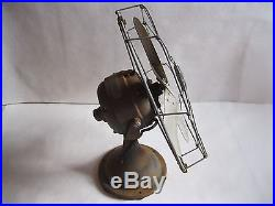 Vintage Antique Fan General Electric Brass Blades and Cage G E 12 Inch