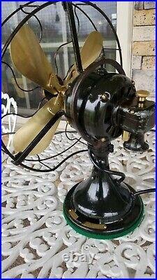 Vintage Antique GE 12 inch Brass Blade Fan Restored