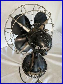 Vintage Antique Hunter zephair Oscillating Electric Fan 235 TYPE C -12 14