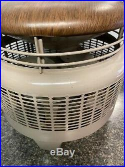 Vintage Dayton Hassock Round Floor Fan Antique USA Metal Foot Stool-Works Great