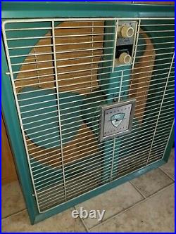 Vintage Emerson Electric Box Fan Blue 2 Way Antique WORKS