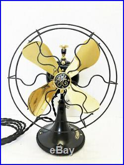 Vintage antique1920s 9GE Electric Starionary Fan Brass Blade with Custom Yoke