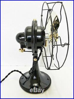 Vintage antique1920s 9GE Oscillating Fan Brass Blades Custom Steel Ring