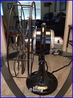 Vintage antique1929 Hunter 10 inch oscillating single speed fan GE base Restored