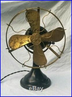 Vtg Antique 1911 GE General Electric Desk Fan 12 Brass Blades Cage Works 718086
