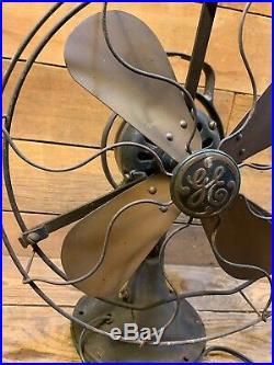 Vtg Antique GE General Electric AOU Brass Blade Fan 3 Speed Oscillating Old Cast