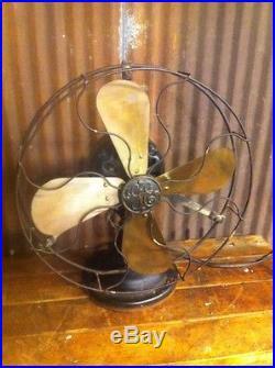 Vtg Antique GE General Electric Cat 34017 AUU Stationary Brass Blade Fan
