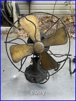 Vtg Polar Club Electric Fan brass blades Cage Working Antique Desktop 1940s 50s
