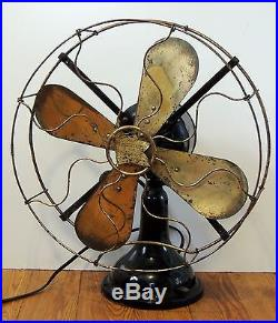 WORKS! Antique vtg c1913 Robbins & Myers 1159 Brass Blade FAN with Badge 17 R&M