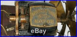 WOW! RARE ANTIQUE 1901 MANHATTAN MOTOR NO. 3 BRASS DC FAN desk table top