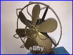 Westinghouse 12 Six Brass Blade Oscillating Fan Old Motor Antique Original