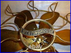 Westinghouse Vintage/Antique fan all Brass Cage with 6 wing Brass Blade