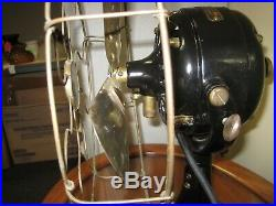 Working Antique 1910 Ge 12 Inch Fan 4 Brass Blades Brass Cage Model #641199