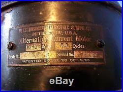 Works! 1906 Westinghouse Style 115678 Fan Rare Early Antique Vintage 16 Fan